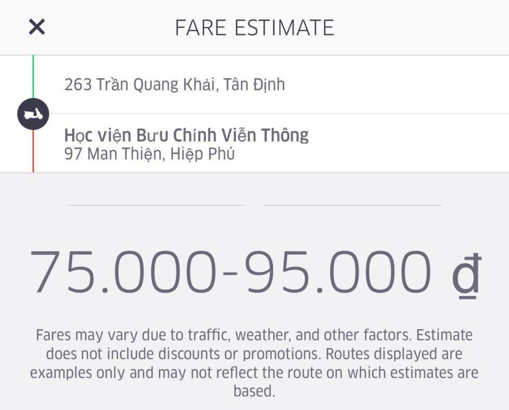 ước tính giá tiền Uber